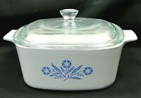 Corning Ware A-1 1/2-B Blue Cornflower Casserole Dish 1 1/2 Quart Free Ship