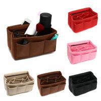 Zipper Felt Cosmetic Bag Multi Pocket Handbag Purse Organizer Fabric Liner Tote