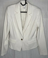 White House Black Market Blazer Size 4 Stretch Jacket 1 Button Coat Cream Women