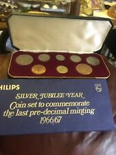 More details for philips silver jubilee year 8 unc.coin set last predecimal minting 1966/67 boxed