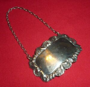 Vintage Solid Silver Blank Decanter Label by Francis Howard Ltd, Sheffield 1973