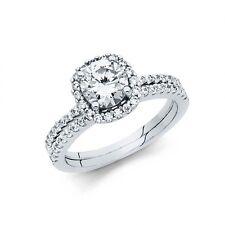 1.45 CT 14k Real White Gold Round cut  Engagement Ring & Wedding Band Bridal Set