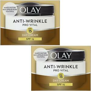 2 Olay Anti-Wrinkle Day Cream Pro Vital AntiAgeing Moisturiser SPF15 Mature 50ml