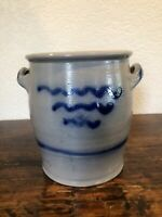 Antique Salt-Glazed Blue & White Stoneware 2-Handled Crock Pot