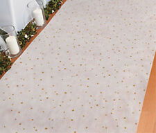 100 FT White with Gold Specks Wedding AISLE RUNNER Long Bridal Party