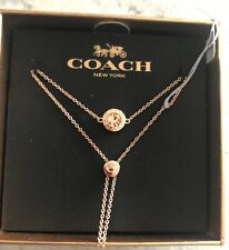 Coach Gold tone Lariat Necklace  & Goldtone Ball Charms MET Gift Box