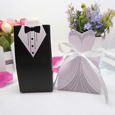 100pcs Wedding Favor Candy Box Bride & Groom Dress Tuxedo Party Ribbon Gift