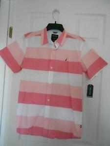 NAUTICA Boys Button-Down Short Sleeve Shirt Size XL (18-20)Guava Striped NWT