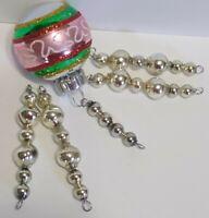 Vintage Mercury Glass Bead Icicle 5 Christmas Ornaments RADKO SHINY BRITE Pink