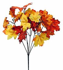 "Artificial Maple Leaf Bush Set/3 Fall Harvest Autumn Decor 12"" NEW Lot FL-PBM665"