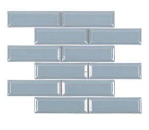 Satori Hudson Pastel Glossy Beveled Brick Porcelain Mosaics Backsplash Wall Tile