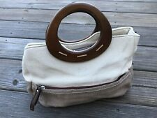 Relic Women Handbag Brown/Tan Canvas Leather Bag Wood Handle