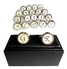 Monogramm Buchstaben Manschettenknöpfe rund cremeweiss silbern MK0262 + Box