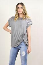 Alexa Sequined Drop Shoulder Slub Top