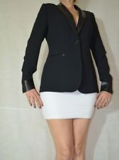 Women Black Elegant Jacket Tailor Trimmed With Faux Leather One Button Size 14