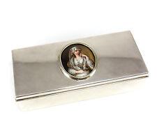 Tiffany & Co. Sterling Silver Box w/ Porcelain Portrait Plaque Mid Century 19toz