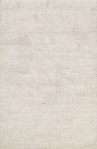Thick-Plush Ivory Contemporary Solid Shaggy Area Rug Hand-Tufted Wool 5x7 Carpet