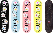 Supreme Flowers Skateboard Deck Set of 4 Black Blue Yellow Pink 1000% Authentic
