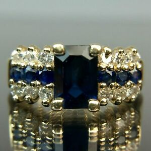 2.50Ct Emerald Cut Blue Sapphire Vintage Engagement Ring 14K Yellow Gold Over