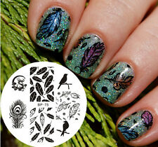 Nail Art Stamping Plate Dragon Feather Image Stamp Template BP75 BORN PRETTY