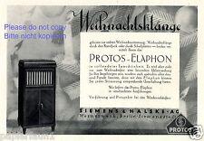 Radio & Plattenspieler Protos Elaphon Reklame von 1929 Siemens Halske Werbung