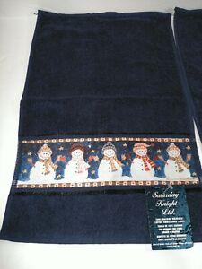 """Saturday Knight Ltd Snow Men 2-Piece Hand Towel Set - 12x18"""" Christmas Decoratio"""