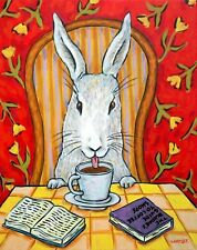 Bunny rabbit coffee art Print from painting 11x17 glossy photo finish