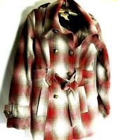 Paris Blues Double Breasted Women's Jacket Wool Blend Red Plaid Coat Size Small