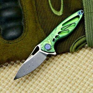 Mini Drop Point Folding Knife Pocket Hunting Survival Titanium Damascus Steel XS