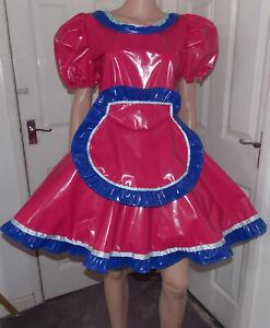 Unisex pvc maids dress pvc trim fancy dress sissy lolita cosplay