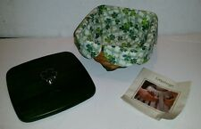 Longaberger Lucky Twist Basket Lid Shamrock Knob Fabric Liner