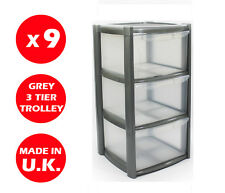 9 x 3 DRAWER PLASTIC STORAGE DRAWER - CHEST UNIT - TOWER - WHEELS -TOYS - SILVER