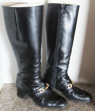 Ginza Diana Tall Women's Soft Black Leather 15 inch Boots From Japan Sz 5½