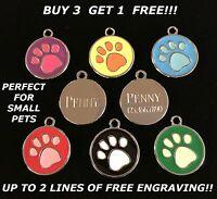 PAW PRINT CIRCLE CUSTOM PET TAG ID CAT DOG PUPPY ANIMAL SHELTER  FREE ENGRAVING