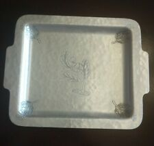 Vtg Farberware Wrought, Hammered  Aluminium Tray Etched Oak Leaves/Acorns 50s NY