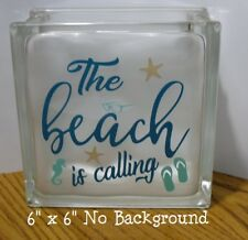 """The Beach is Calling Decal sticker for 8"""" Glass Block Shadow Box"""