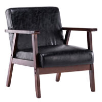 Solid Wood and Faux Leather Armchair, Multiple Colours, Lounge, Deep, Comfort