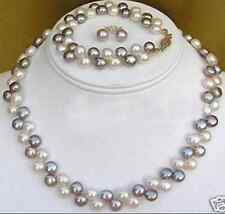 pearl necklace bracelet earrings 17-18'' Natural! 7-8mm 2 rows Black White