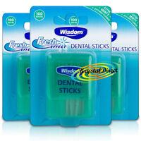 3x Wisdom Fresh Effect Extra Minty Mint Fluoride Dental Sticks 100 Woodsticks
