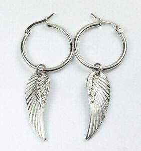 Angel Wing Feather Small Hoop Drop Dangle Stainless Steel Earrings