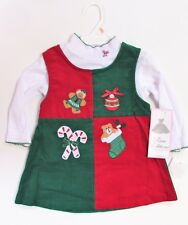 2T Kids Holiday Christmas Red/Green Jumper Dress  NWT Rare Editions