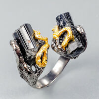Fine Art Jewelry Natural Tourmaline 925 Sterling Silver Ring Size 8/R122428
