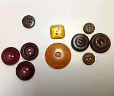 Mixed VTG Lot of 10 Bakelite Buttons Orange Brown Tan Green Red TESTED