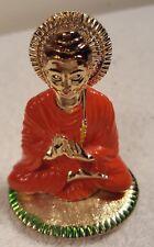 "3"" Tibetan Miniature Metal Buddha Statue/Figurine w/ Orange Color Clothing"