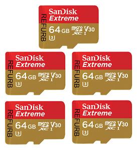 SanDisk 64GB Extreme UHS-I microSDXC Memory Card - Refurbished - Pack of 5