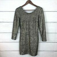 Anthropologie & Other Stories Bodycon Dress Size 8 Metallic Low Back Gold Party