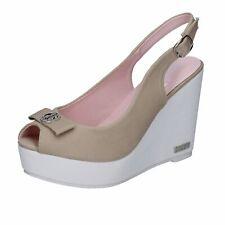 scarpe donna LANCETTI sandali beige tela BP560