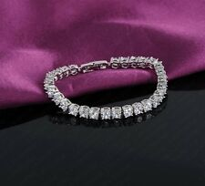 """REAL 9K WHITE GOLD FILLED MADE WITH SWAROVSKI CRYSTALS CHAIN BRACELET 7.5"""""""