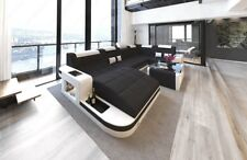 Stoff Wohnlandschaft Couch WAVE U Form Design Couch Farbauswahl Materialmuster