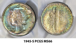 1945-S PCGS MS66 MERCURY DIME STUNNING COLORFUL TONED RAINBOW (JH) ***